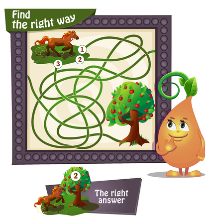 cartoon board: Visual Game for children. Task: find the right way