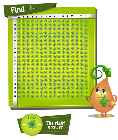 observation: Visual Game for children. Game account, observation. Find clover with 4 leaves