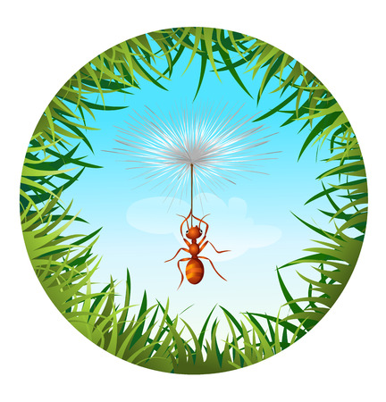 sedge: Insects and summer nature icon. ant in the sky holding the dandelion