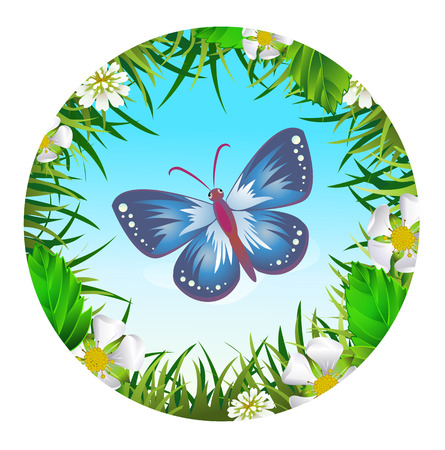 sedge: Insect and summer nature icon. Butterfly on the background of the sky in a clearing in a circle around flowers Illustration