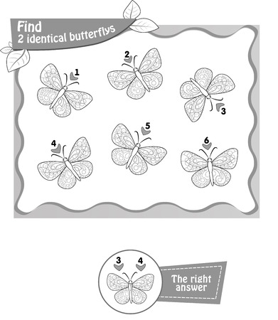 butterflys: visual game, coloring book for children and adults. Task to find 2 identical butterflys. black and white vector illustration Illustration