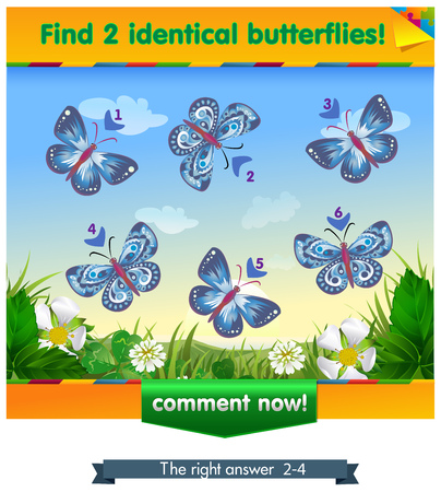 find: visual game for children . Task to find 2 identical butterflies