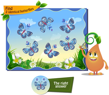 memory board: visual game for children . Task to find 2 identical butterflies