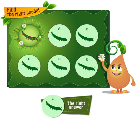 children caterpillar: visual game for children and adults. Task the find right shadow caterpillar Illustration