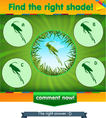 find: visual game for children and adults. Task the find right shadow grasshopper