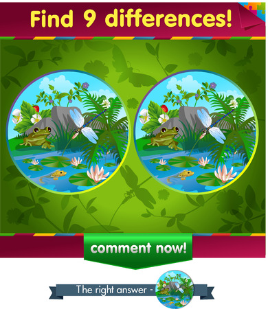 part frog: visual game for children and adults. Task to find 9 differences in the summer illustration  with  forest insects.