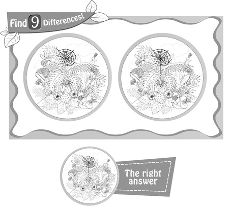 spot the difference: visual game, coloring book for children and adults. Task to find 9 differences in the summer illustration  with  forest insects. black and white vector illustration