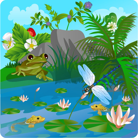 clearing: vector summer illustration of nature, in the form of insect life in the forest, in a clearing in the grass