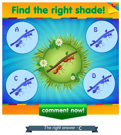 iq: visual game for children and adults. Task the find right shadow ants