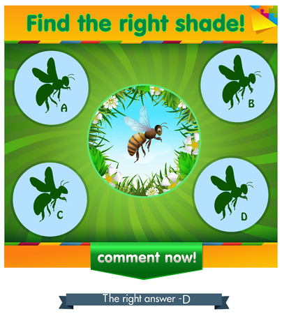 guess: visual game for children and adults. Task the find right shadow bee