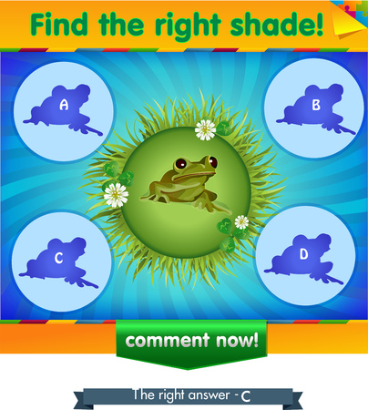 visual game for children and adults. Task the find right shadow frog Illustration