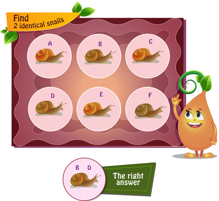 identical: visual game for children . Task to find 2 identical snails