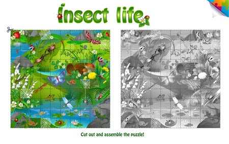 assemble: Puzzle - a life of insects on forest clearing. Cut out and assemble the puzzle