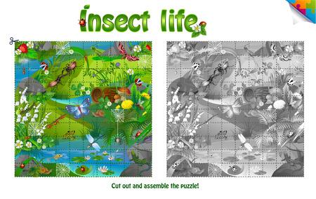 Puzzle - een leven van insecten op boskap. Knip en monteer de puzzel Vector Illustratie