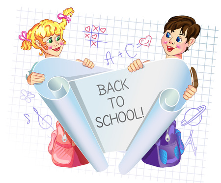 novice: illustration of kids peeping behind placard.  With the words - back to school