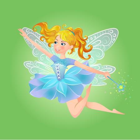 Illustratie van leuke, vriendelijke, vrolijke fee met een toverstokje