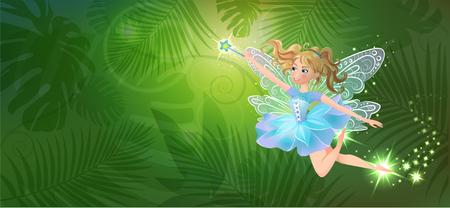 Illustratie van schattige, vriendelijke, vrolijke fee met een toverstaf tegen de achtergrond van het magische bos