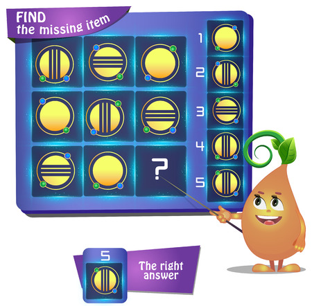 Visual Game for children. Task: find the missing part Ilustracja