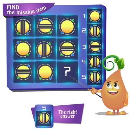Visueel spel voor kinderen. Taak: vind het ontbrekende deel