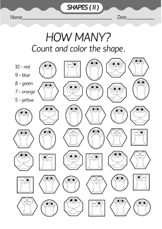 parallelogram: Training material- coloring book : how many? Count and color the shapeGeometric shapes in the form of an owl . Black and white vector illustration.