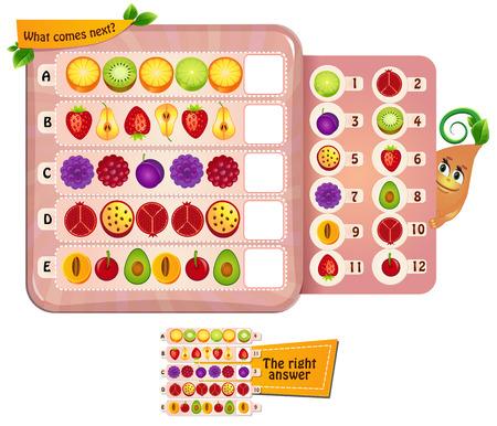 Visueel spel voor kinderen. Taak: wat komt er nu? Stockfoto - 61384211