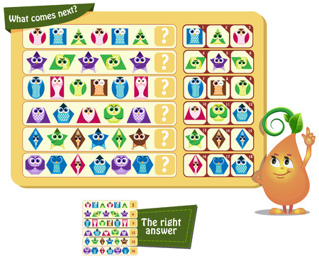 preschool child: Visual Game for children. What comes next? Geometric shapes in the form of an owl. Illustration