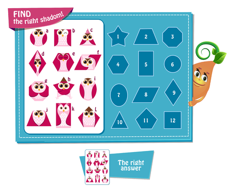 educational material: Visual Game for children. Task:  find right shadom! Geometric shapes in the form of an owl.