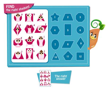 Visueel spel voor kinderen. Taak: vinden shadom! Geometrische vormen in de vorm van een uil. Stockfoto - 61384214