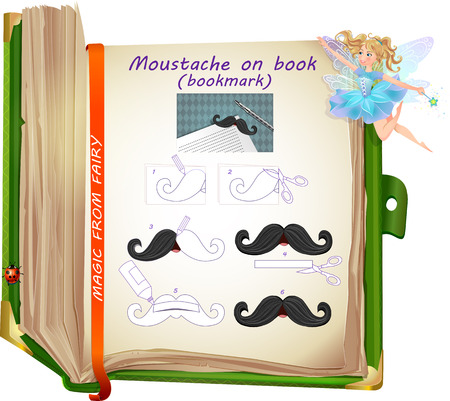 own: sample of creativity from the fairies. Template how to make a bookmark with your own hands. bookmark - moustache on book