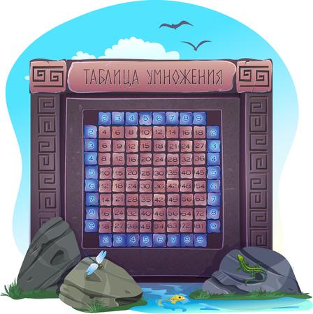 multiplicacion: tabla de multiplicar estructurado en escuadra contra el fondo de la tabla griega en ruso Vectores