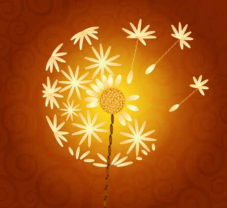 delicate arabic motif: embroidered dandelion on an orange background with swirls Illustration