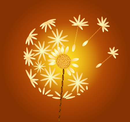 delicate arabic motif: embroidered dandelion on an orange background