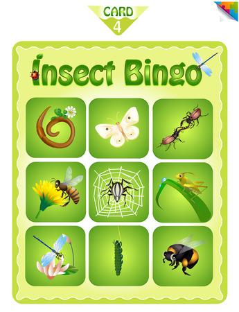 Para imprimir juego de bingo educativo para niños en edad preescolar con diferentes insectos. cartones de bingo. ilustración vectorial de dibujos animados.