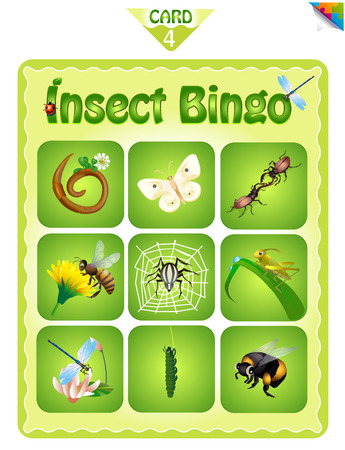 Printable educational bingo game for preschool kids with different insects. Bingo cards. Cartoon vector illustration. Vettoriali