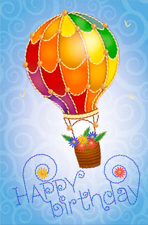 Colorful positive floral summer background- balloon with a basket of flowers in the  sky. birthday card