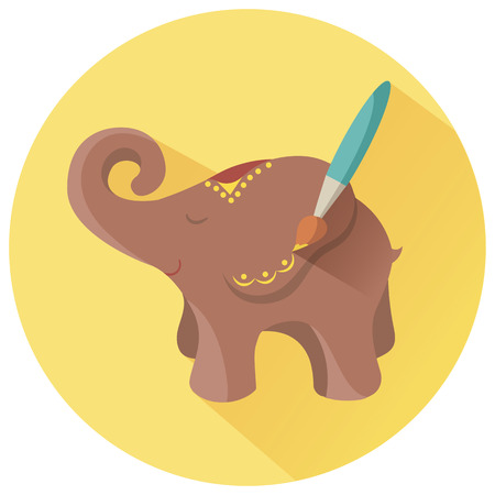 Icon for Hand Made in the form of sculpting and painting elephant Illustration