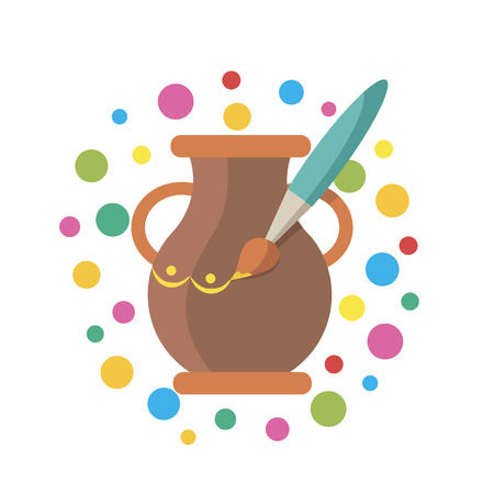 Icon for Hand Made in the form of modeling clay and painting pot Illustration