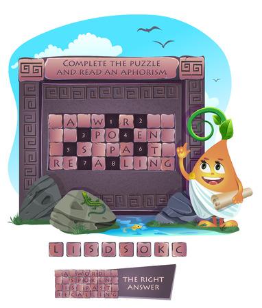guess: Visual sample games for children. Complete the puzzle and read an aphorism. Answer - A word spoken is past recalling. Illustration