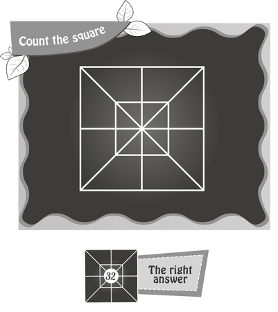 riddles: visual game for children. Task: count the squares. black and white vector illustration