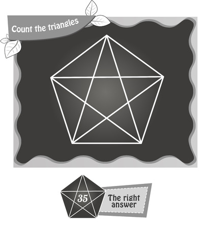 task: visual game for children. Task: count the triangles. black and white vector illustration Illustration