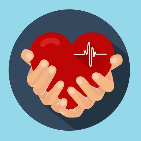 Corazón en las manos de un concierto, un corazón sano Foto de archivo - 63150098