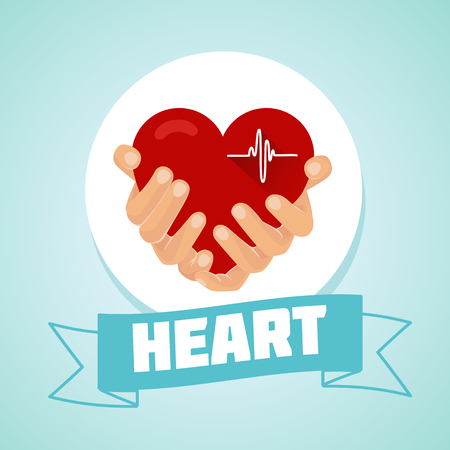 hearty: heart in the hands a concert, a healthy heart Illustration