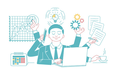 Businessman with multitasking and multi skill. Keep calm. Business concept. Linear style, design Illustration