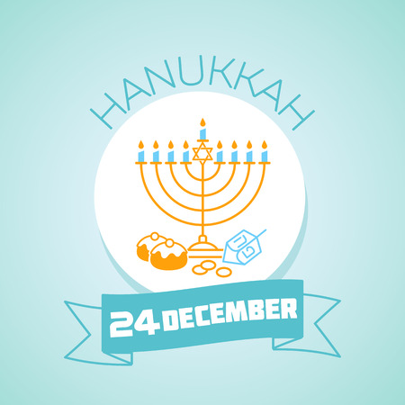 Calendar for each day on december 24. Greeting card. Holiday - hanukkah. Icon in the linear style Illustration