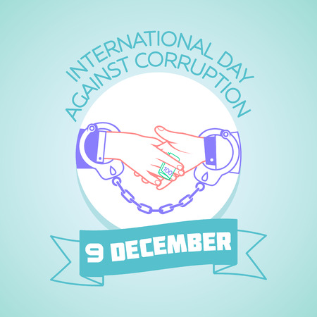 handcuffed: Calendar for each day on december 9. Greeting card. Holiday - International Day Against Corruption. Icon in the linear style Illustration