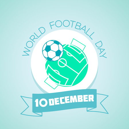 Calendar for each day on December 10. Greeting card. Holiday - world  football  day. Icon in the linear style