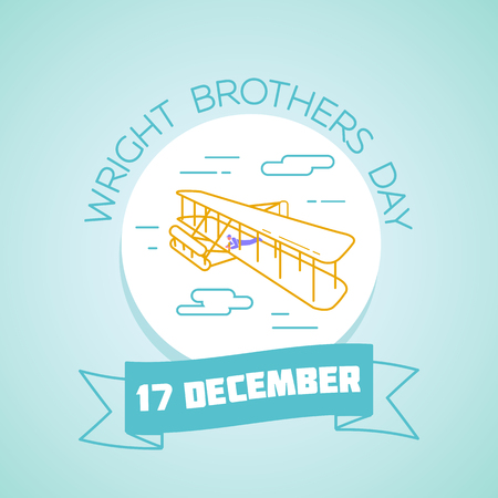 wright: Calendar for each day on December 17. Greeting card. Holiday -  Wright Brothers Day. Icon in the linear style Illustration
