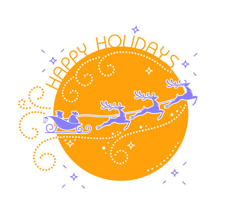silhouette of Santa Claus flying reindeer on a moon background in linear style. Icon for Christmas, New Year