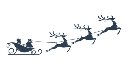 silhouette of Santa Claus and reindeer