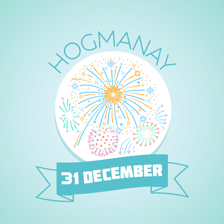 hogmanay: Calendar for each day on December 31. Greeting card. Holiday - Hogmanay, New Years Eve. Icon in the linear style